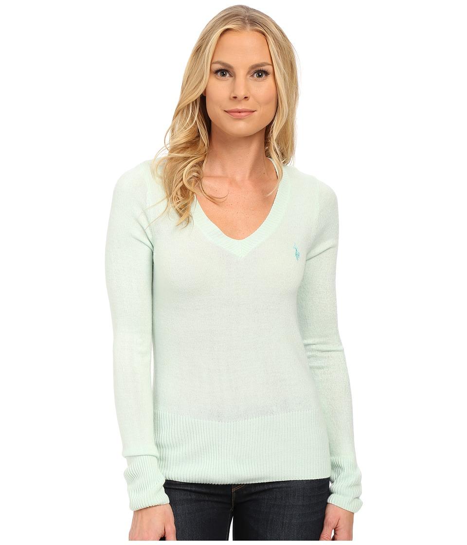U.S. POLO ASSN. - Solid V-Neck Pullover (Fair Aqua Combo) Women