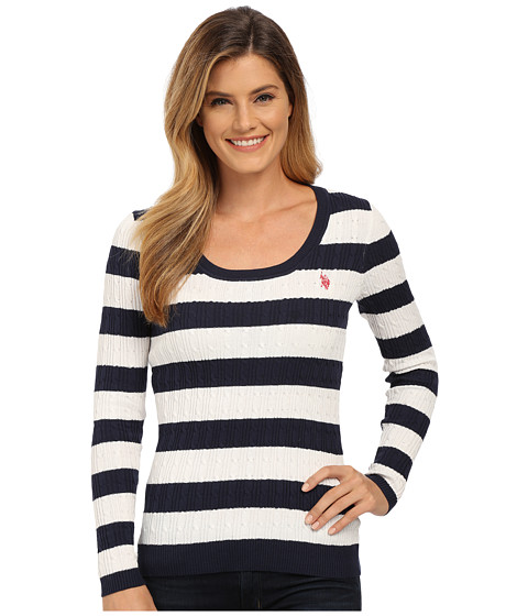 U.S. POLO ASSN. - Stripe Cable Knit Scoop Neck Pullover (Navy Blazer Marsh) Women's Clothing