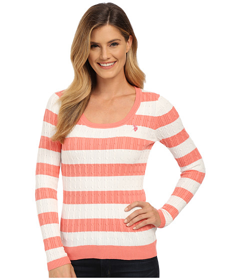 U.S. POLO ASSN. - Stripe Cable Knit Scoop Neck Pullover (Shell Pink Marsh Combo) Women