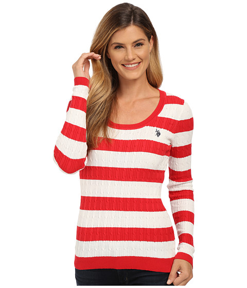 U.S. POLO ASSN. - Stripe Cable Knit Scoop Neck Pullover (Lipstick Red Marsh) Women