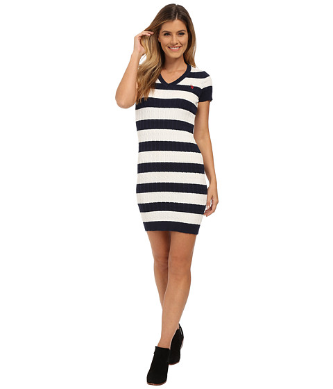 U.S. POLO ASSN. - Stripe Cable V-Neck Dress (Evening Blue Combo) Women