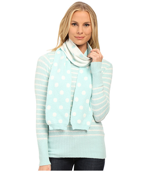 U.S. POLO ASSN. - Stripe Crew Neck Sweater with Polka Dot Scarf (Fair Aqua Combo) Women's Sweater