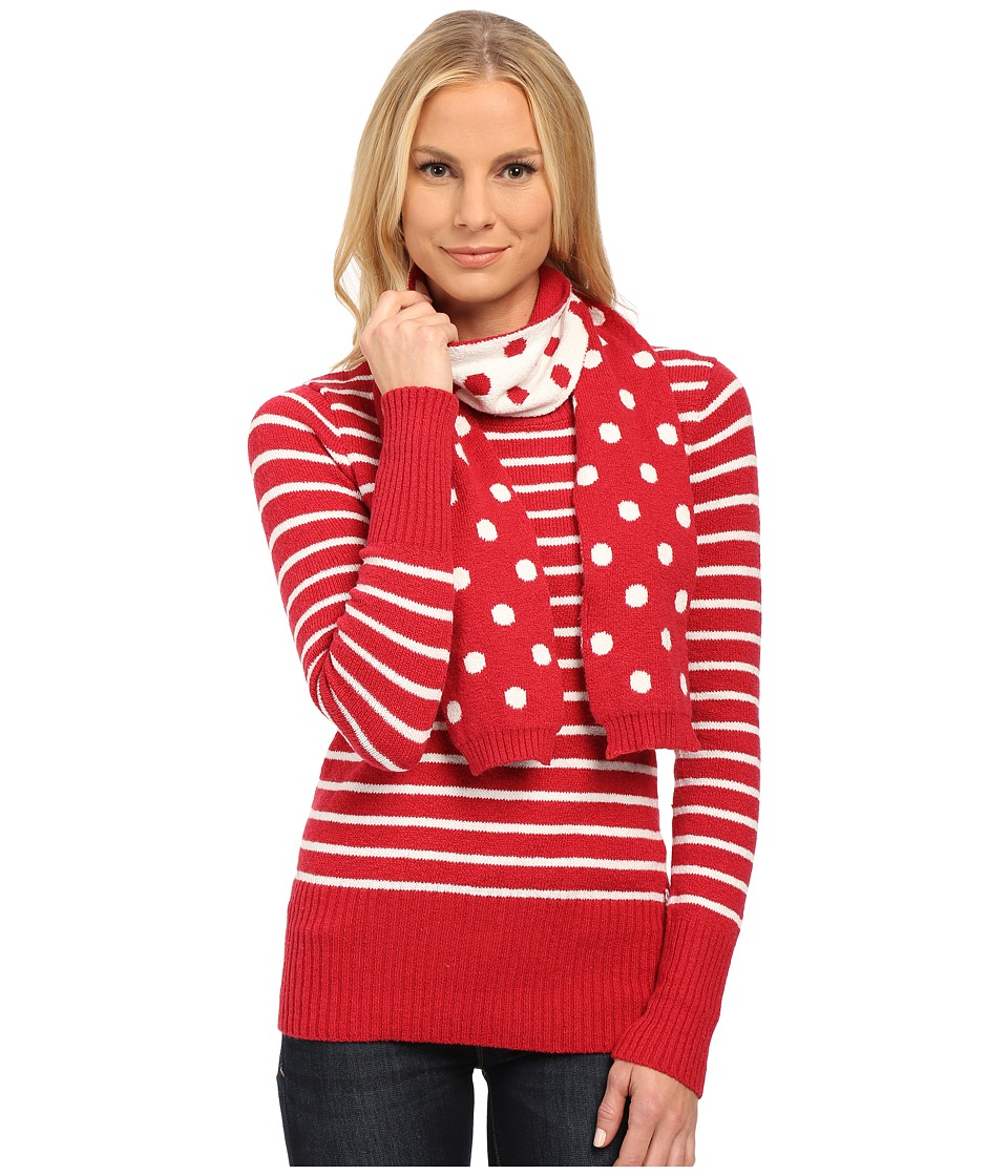 U.S. POLO ASSN. - Stripe Crew Neck Sweater with Polka Dot Scarf (Lipstick Red Combo) Women's Sweater