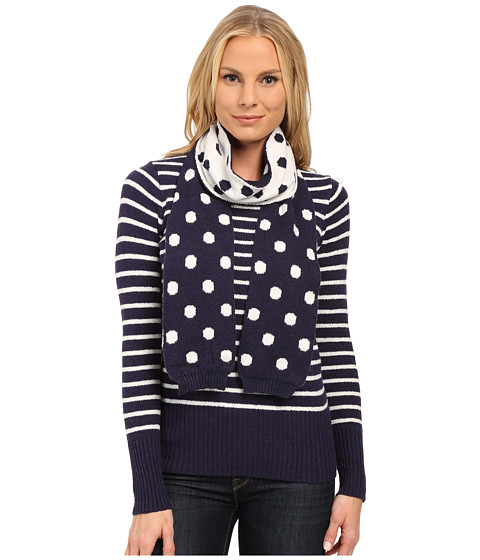 U.S. POLO ASSN. - Stripe Crew Neck Sweater with Polka Dot Scarf (Eclipse Combo) Women