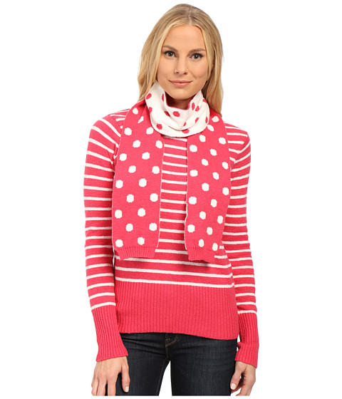 U.S. POLO ASSN. - Stripe Crew Neck Sweater with Polka Dot Scarf (Azalea Combo) Women