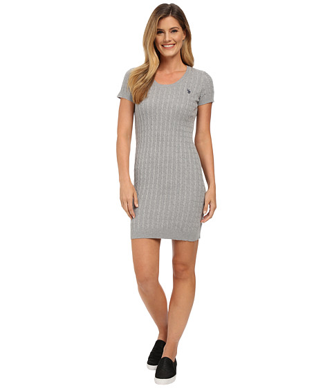 U.S. POLO ASSN. - Striped Cable Knit Dress (Medium Heather Grey Combo) Women