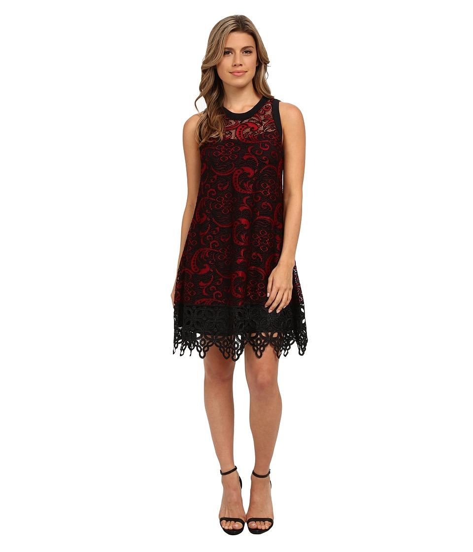Nanette Lepore Majestic Lace Dress (Scarlet/Black) Women