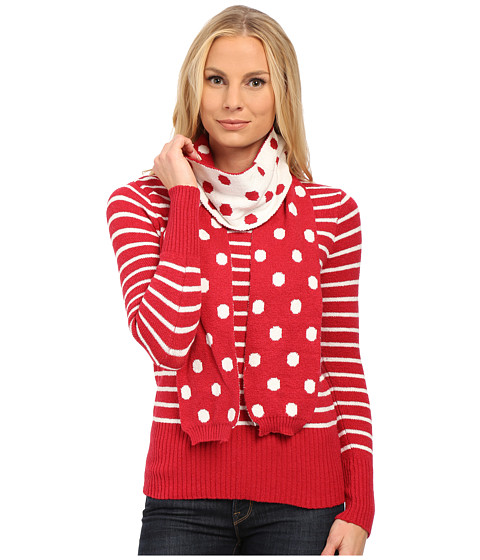U.S. POLO ASSN. - Striped Crew Neck Sweater with Polka Dot Scarf (Lipstick Red Combo) Women
