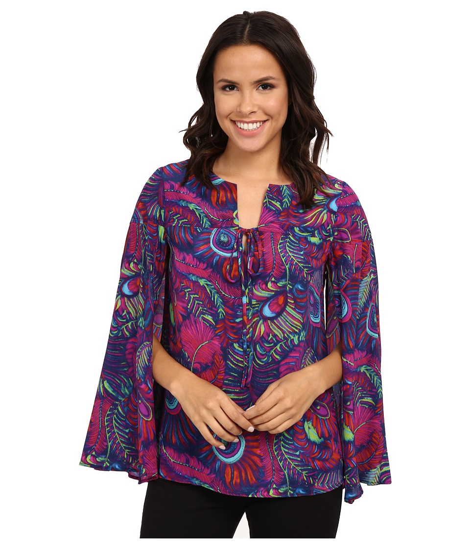 Nanette Lepore - Pretty Plumes Top (Cobalt Multi) Women's Clothing