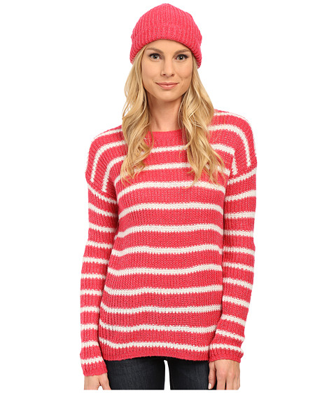 U.S. POLO ASSN. - Striped Lurex Flecked Striped Sweater and Cap Set (Azalea Combo) Women