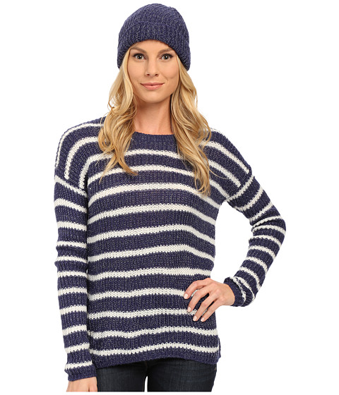 U.S. POLO ASSN. - Striped Lurex Flecked Striped Sweater and Cap Set (Patriot Blue Combo) Women