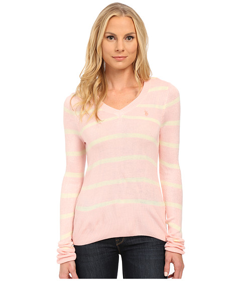 U.S. POLO ASSN. - Striped V-Neck Sweater (Impatiens Pink Combo) Women