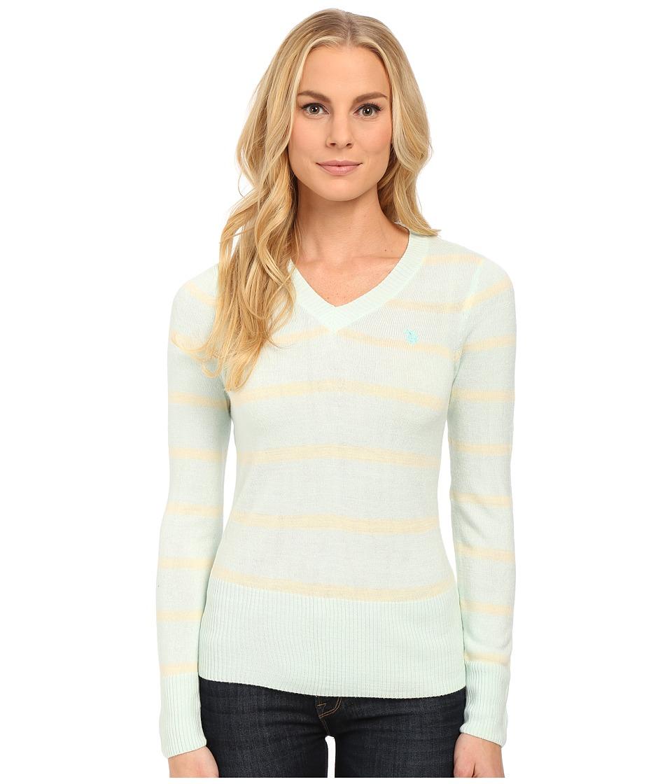U.S. POLO ASSN. - Striped V-Neck Sweater (Fair Aqua Combo) Women's Sweater