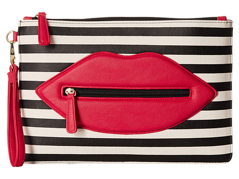 Luv Betsey - Lipz PVC Large Wristlet (Black/White Stripe) Wristlet Handbags