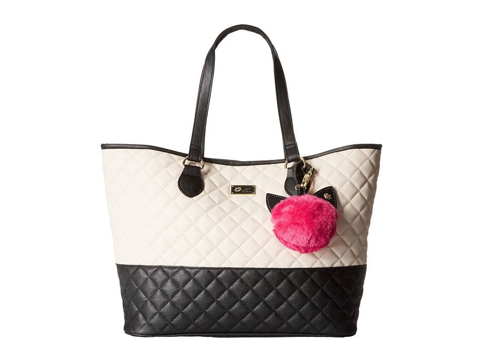 Luv Betsey - Saraa Quilted PVC Tote (Black/White) Tote Handbags