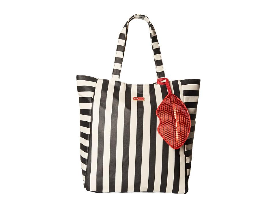 Luv Betsey - Shonna PVC Tote (Black/White Stripe) Tote Handbags