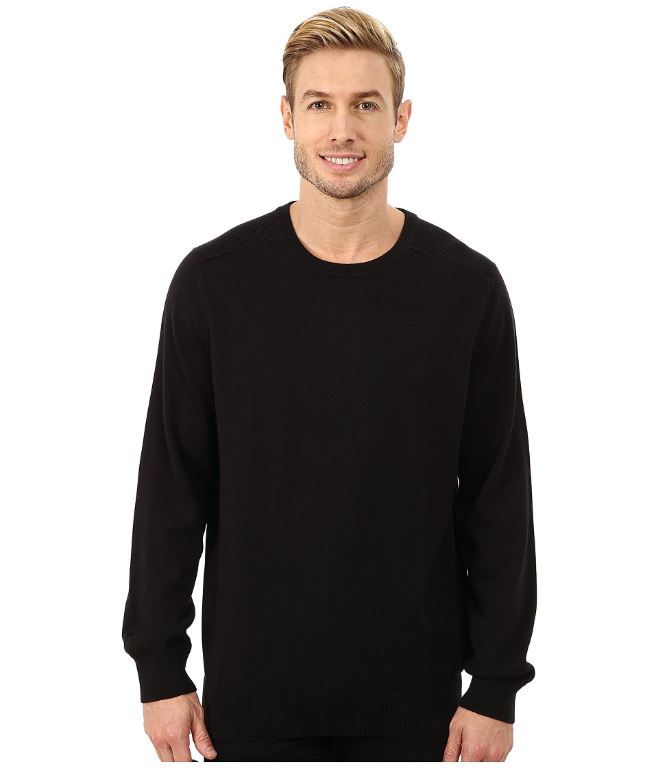 Nautica - Solid Crew Neck Sweater (True Black) Men's Sweater