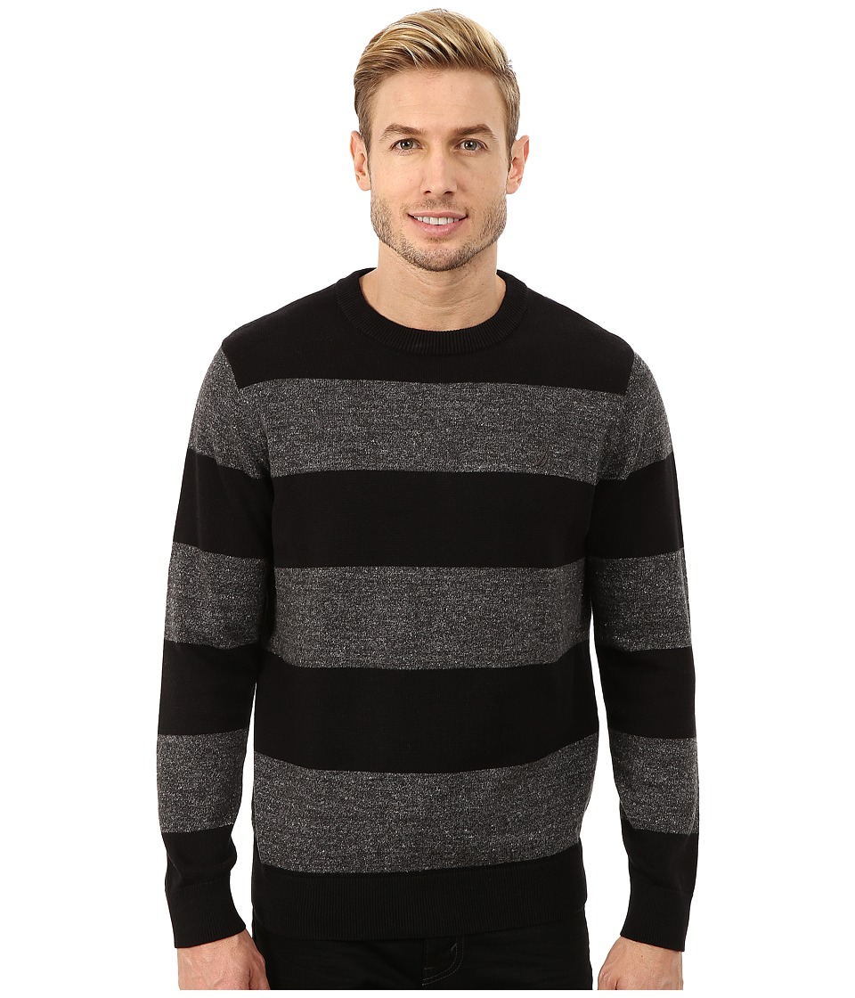 Nautica - 9 Gauge Snow Stripe Crew (True Black) Men's Sweater