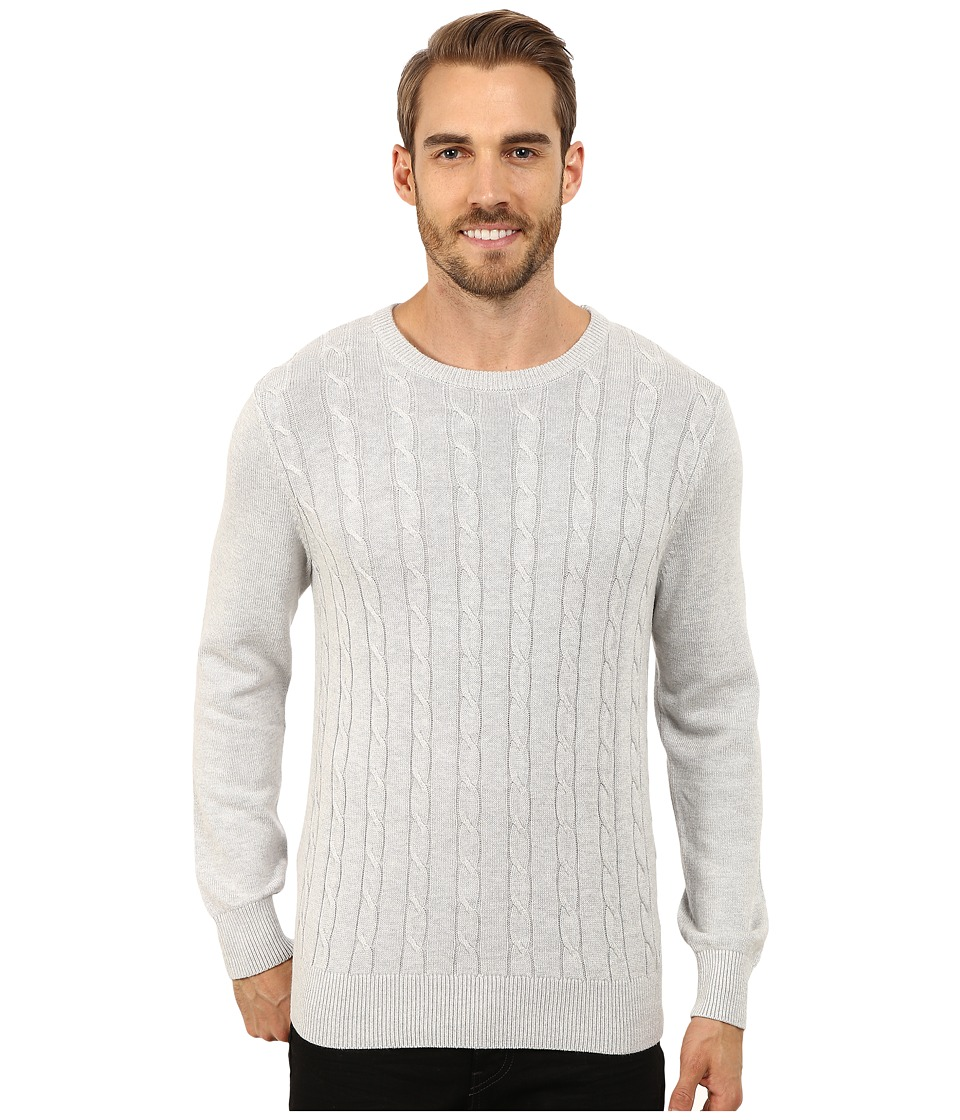 Nautica - 9 Gauge Solid Crew Neck Cable Sweater (High Rise) Men