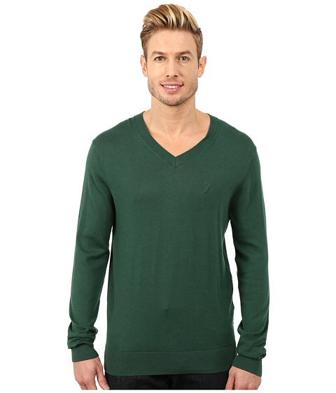 Nautica - Solid V-Neck Sweater (Hunter Green) Men's Sweater