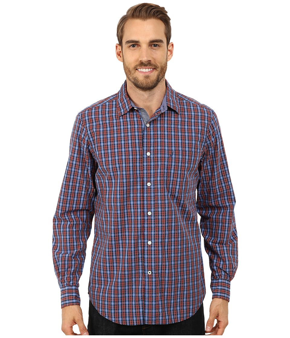Nautica - Long Sleeve Poplin Small Plaid (Sunguaurd Red) Men's Long Sleeve Button Up