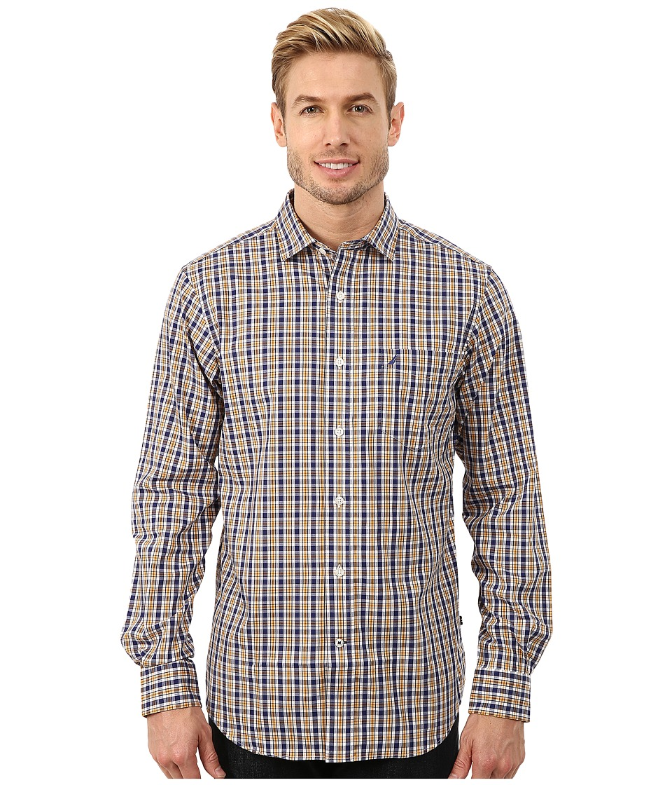 Nautica - Long Sleeve Wrinkle Resistant Medium Plaid (Stern Gold) Men's Long Sleeve Button Up