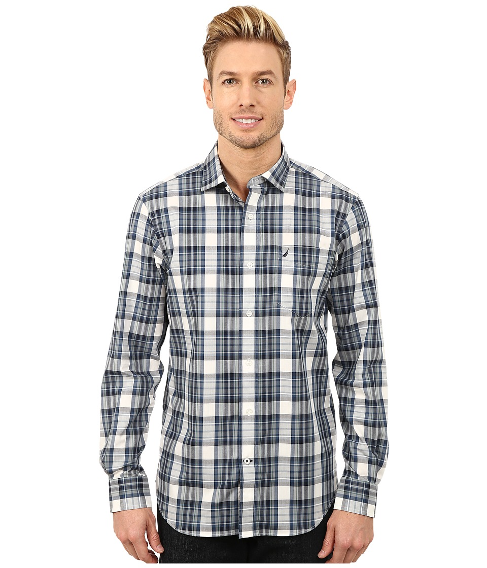 Nautica - Long Sleeve Wrinkle Resitant Large Plaid (Navy) Men's Long Sleeve Button Up