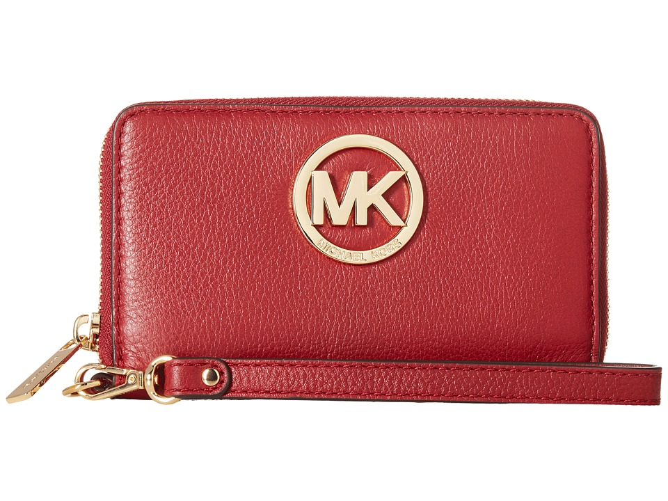MICHAEL Michael Kors - Fulton Large Flat Multi Funt Phone Case (Cherry) Cell Phone Case