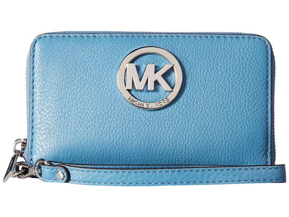 MICHAEL Michael Kors - Fulton Large Flat Multi Funt Phone Case (Sky) Cell Phone Case