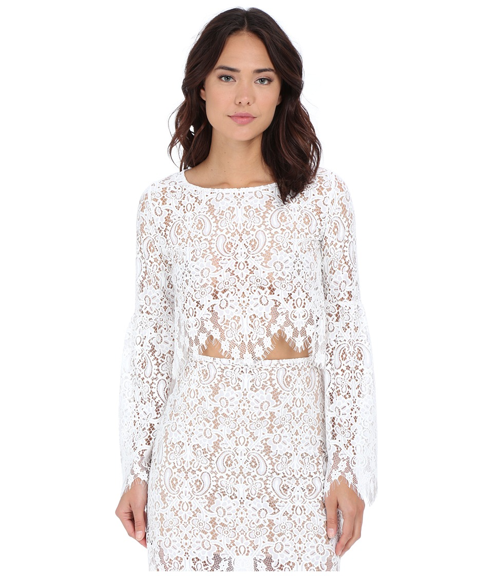For Love and Lemons - Vika Crop Top (Ivory) Women's Blouse