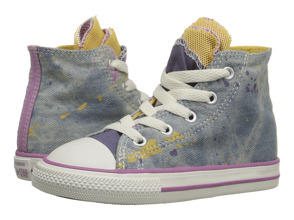 Converse Kids - Chuck Taylor All Star Party Hi (Infant/Toddler) (Moody Purple/Cactus Blossom/Powder Purple) Girls Shoes
