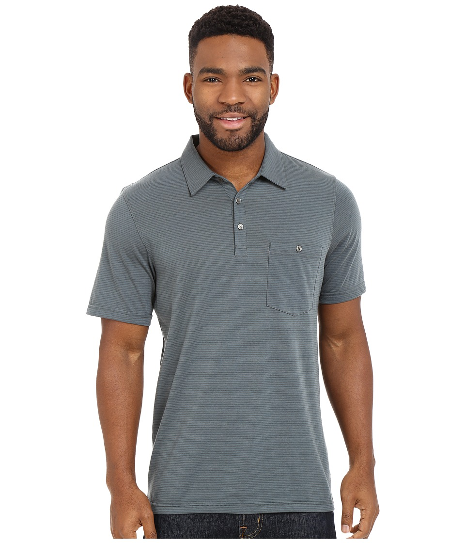 Toad&Co - Embarko Short Sleeve Polo Shirt (Dark Mose Stripe) Men's Short Sleeve Knit