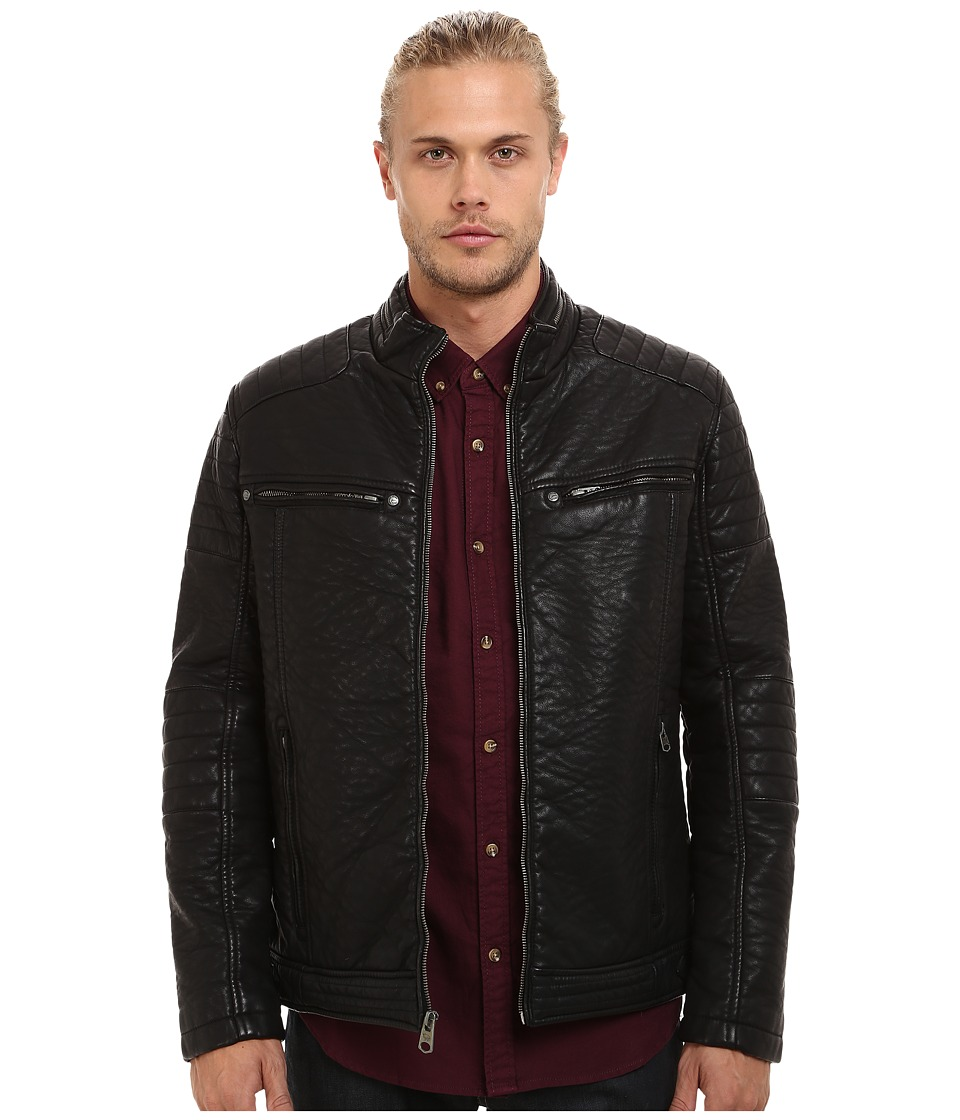 Buffalo David Bitton - Zip Front Jacket w/ Faux Zipper Collar Detail (Black) Men's Coat