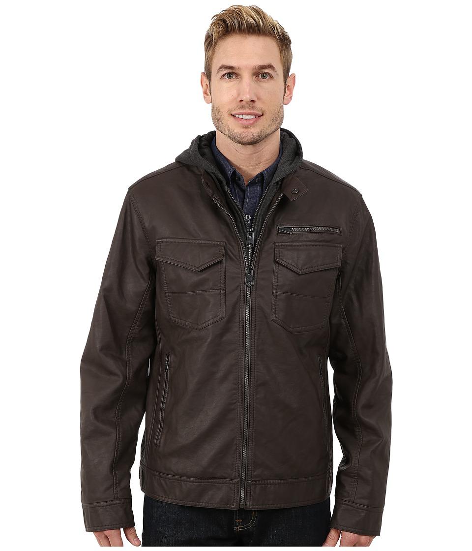 Buffalo David Bitton - Zip Front Jacket w\/ Hood Bib (Brown) Men's Coat