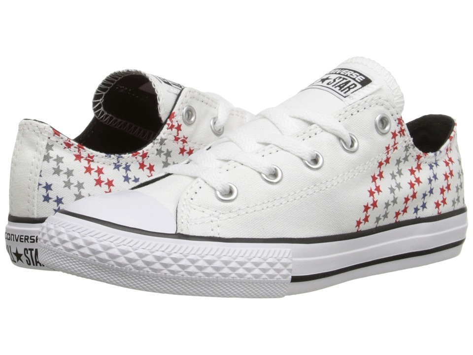 Converse Kids - Chuck Taylor All Star Ox (Little Kid/Big Kid) (White/Casino/Black) Kids Shoes