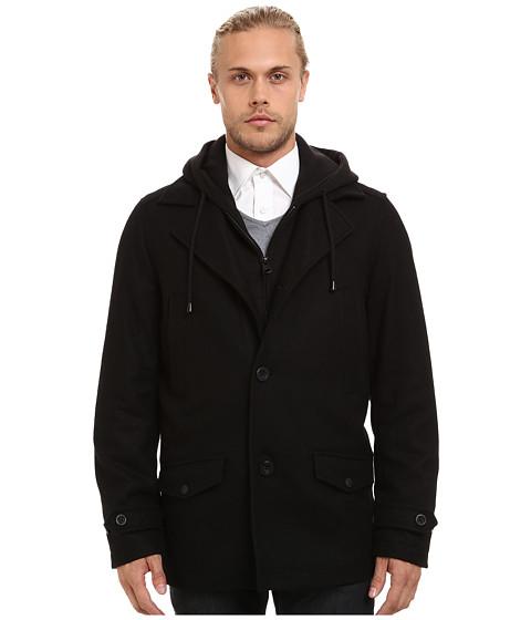 Buffalo David Bitton - Wool Button Front Jacket w/ Hood Bib (Black) Men's Coat