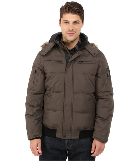 Buffalo David Bitton - Hooded Jacket w/ Snap Front Closure (Military Gray) Men
