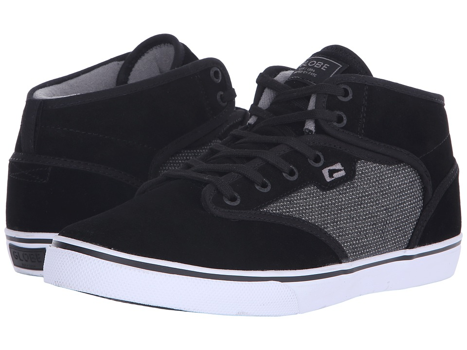 Globe - Motley Mid (Black Suede/Woven) Men's Skate Shoes