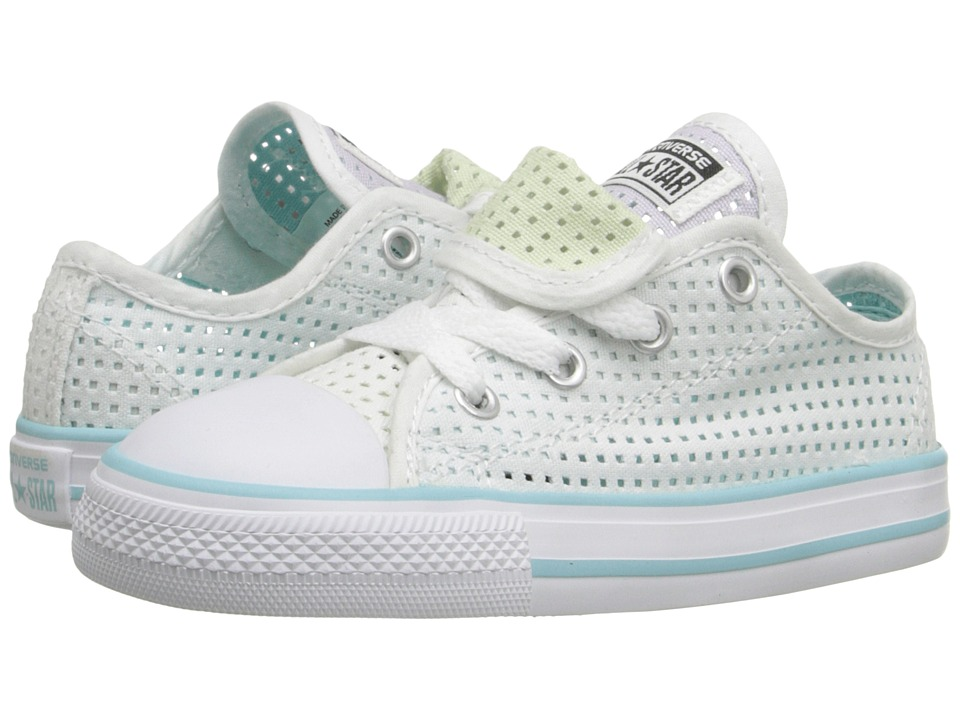 Converse Kids - Chuck Taylor All Star Double Tongue Ox (Infant/Toddler) (White/Motel Pool/Purple Dusk) Girls Shoes