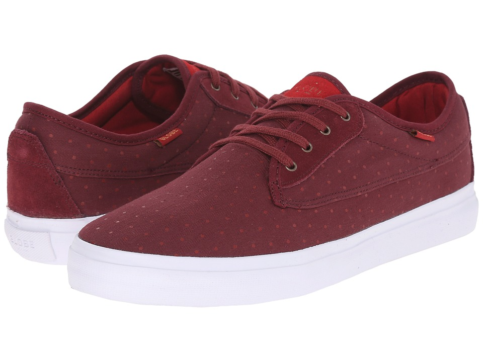 Globe - Moonshine (Burgundy/White Herringbone Canvas) Men's Lace up casual Shoes