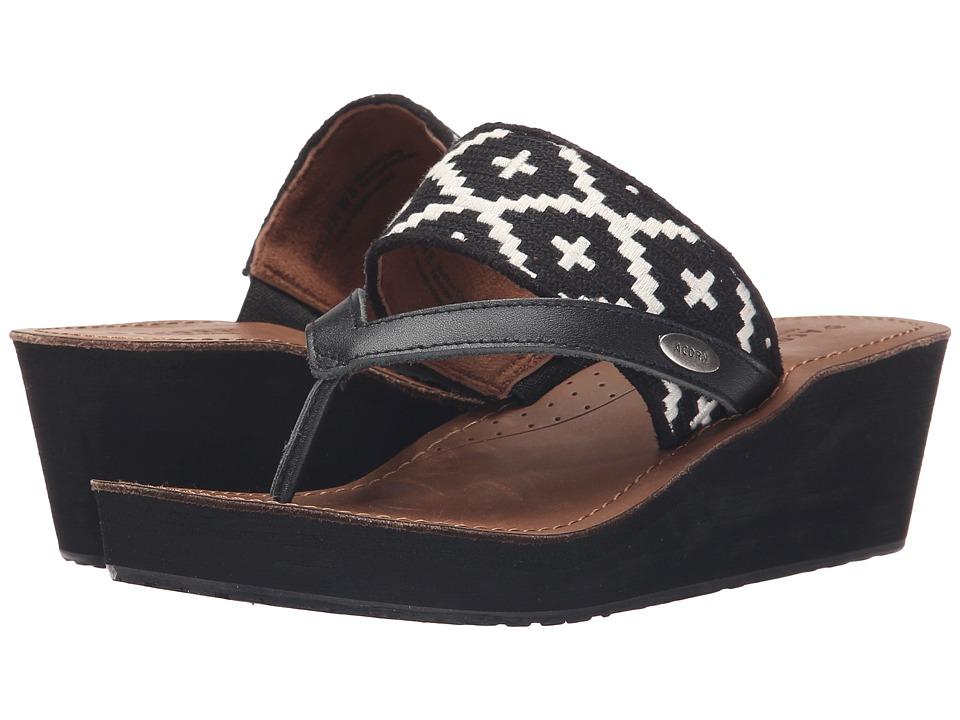 Acorn ArtWalk Leather Wedge (Black/Cream Southwest) Women