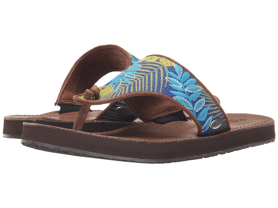 Acorn - ArtWalk Leather Flip (Blue Jungle) Women's Sandals