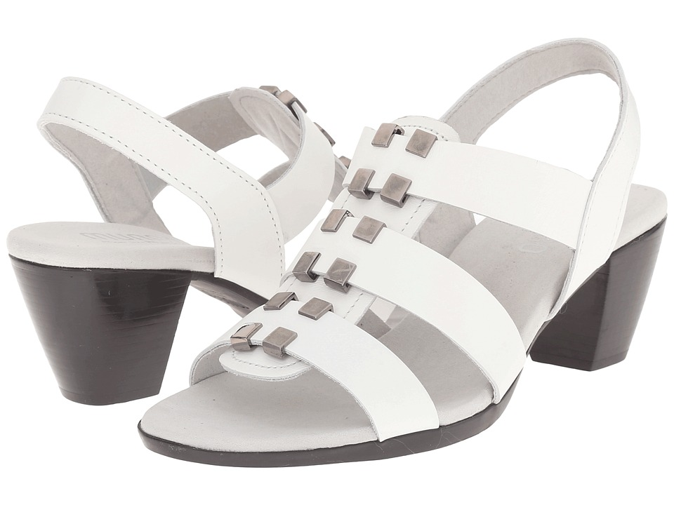 Munro - Maggie (White Leather/Graphite Ornament) Women's Sling Back Shoes