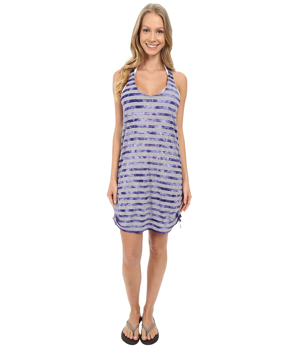 Speedo - Tie-Dye Stripe Shirred Tank Dress Cover-Up (Royal Purple) Women's Dress