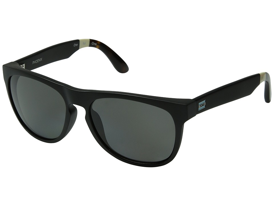 TOMS - Phoenix Polarized (Matte Black) Fashion Sunglasses