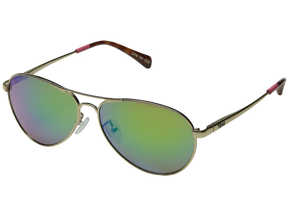 TOMS - Kilgore (Gold/Green Mirror) Fashion Sunglasses