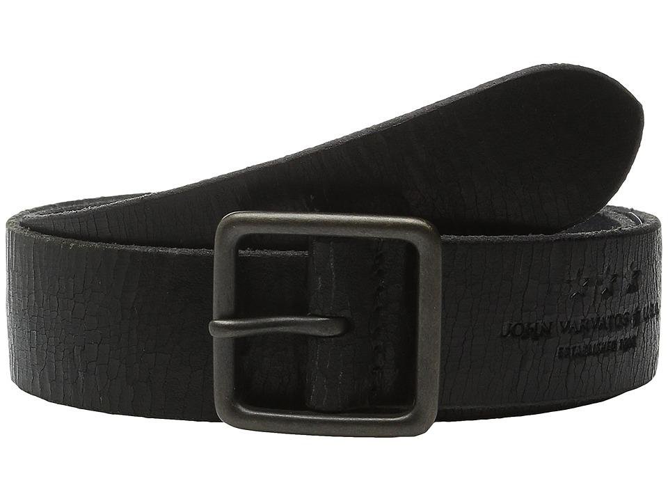 John Varvatos - 38mm Burnished Veg Tanned Leather Belt (Black) Men's Belts
