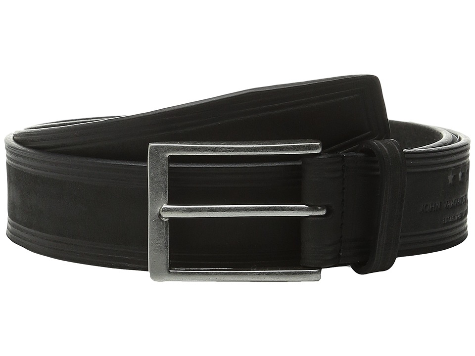 John Varvatos - 35mm Nubuck Heat Crease Detail Belt (Black) Men's Belts
