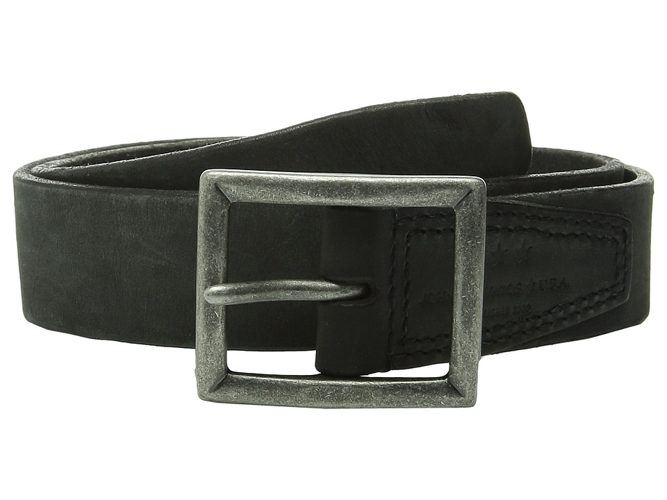 John Varvatos - 35mm Full Weight Harness Leather Belt (Black) Men's Belts