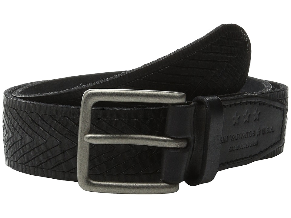 John Varvatos - 38mm Chevron Embossed Leather Belt (Black) Men's Belts